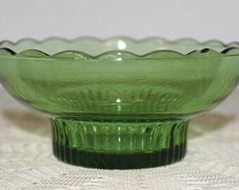 Vintage EO Brody Green Glass Pedestal Scalloped Rim Bowl