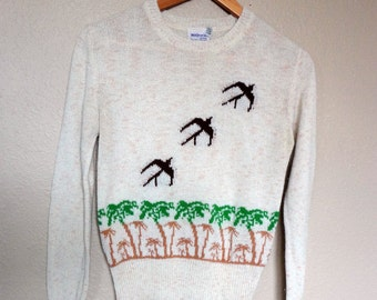 Vintage Birds in Flight Sweater from the 1970's