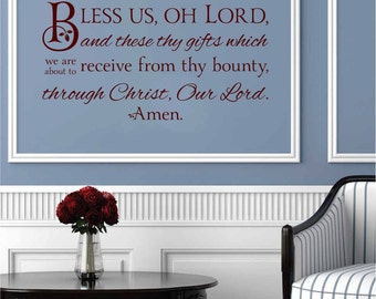 Bless Us O Lord Wall Quote: Through Christ Our Lord - Prayer Wall Decal