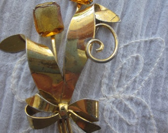 Vermeil Brooch with Amber Faceted Glass Stones in a Floral Arrangement. Vintage Showy Brooch.