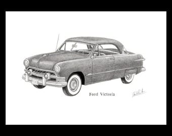 Pencil drawing of a 1951 Ford Victoria