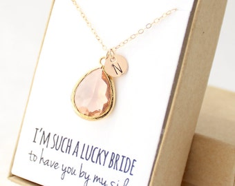 Peach Champagne / Gold Teardrop Necklace - Peach Champagne Bridesmaid Necklace - Bridesmaid Gift Jewelry - Peach and Gold Necklace - NB1