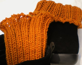 Boot Cuffs Hand Knit Orange Wool Boot Cuffs Ribbed Boot Cuffs W/Picot Edging Hand Knit Boot Cuffs Pumpkin Orange Boot Socks Knit Boot Cuffs