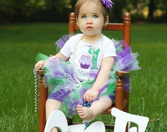 1st Birthday Cupcake Tutu Outfit, Cake Smash Outfit, Purple, Emerald, Lavender