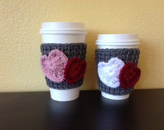 Crochet Coffee Cozy, Heart Coffee Sleeve, Coffee Cup Sleeve, Valentine's Gift, Teacher Gift, Heart Coffee Cozy, Reusable Eco Friendly