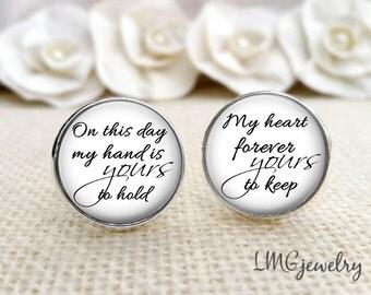 Groom Cufflinks, Wedding Cufflinks, Custom Groom Cufflinks, Gift for Groom, Heart Forever Yours, Stainless Steel Cufflinks