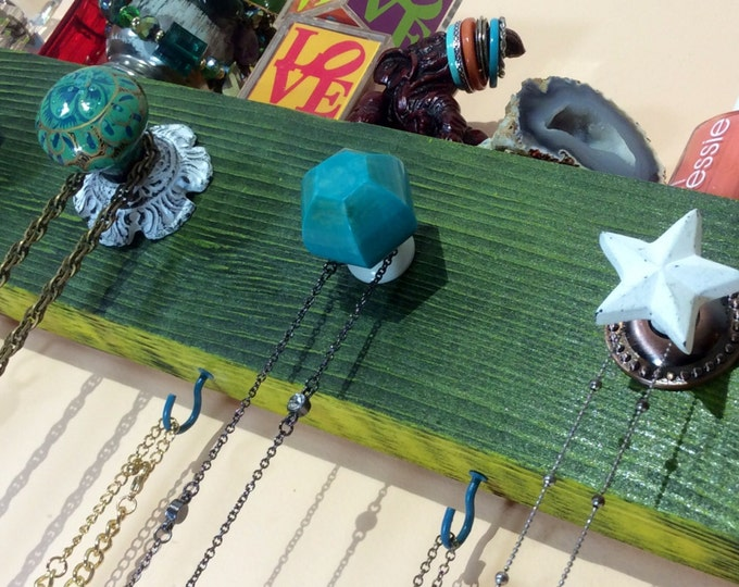 Made to order -Reclaimed wood jewelry holder /necklace display /scarf hanger /recycled wood art/ wall hanging organizer with 4 hooks 5 knobs