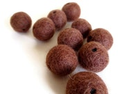 wood brown felt beads with holes - 10 pack - handmade natural wool felt ball pom pom, 3 sizes. great kids craft