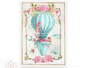 Marie Antoinette, card, hot air balloon, high tea, patisserie, shower tea, birthday card, French, vintage style, blue, pink, blank card