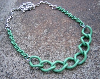 Eco-Friendly Statement Retro Necklace - Maximize Your Assets - Recycled Vintage Chunky Silvertone Metal and Mint Green Enamel Chain