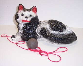 Cat Figurine Bank Black & White with Red Lips Mouth Ears, Vintage, Creepy