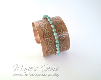 Turquoise Cuff, Copper Bracelet, Wire Wrapped, Handmade Jewelry, Copper Jewelry, Copper Cuff, Turquoise Magnesite, Aqua Blue, Sale, 786