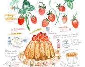 Strawberry shortcake recipe print, Kitchen wall art, French Kitchen decor, Kitchen artwork, Fruit poster print, Watercolor food painting