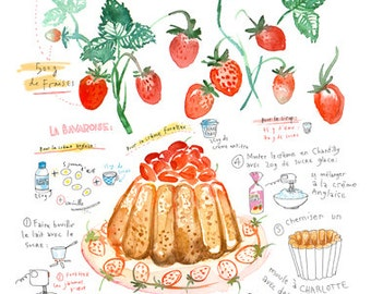 Strawberry shortcake recipe print - Charlotte russe poster - 8X10 French Kitchen decor - Food art - Red Watercolor painting, Fruit cake