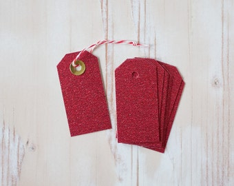 "Red Glitter Small Gift Tags with Twine - 10 pc - 1.5"" x 3"""