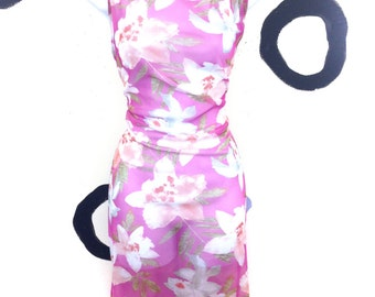 90s sheer pink floral maxi dress size large