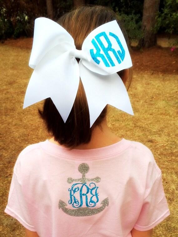 glitter monogram cheer bow monogrammed cheer bows