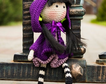 Iris flower Doll  - pdf crochet pattern.