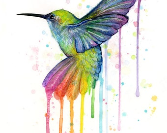 Hummingbird Art Print, Rainbow Watercolor Painting, Rainbow Hummingbird, Hummingbird Print, Watercolor Animals, Whimsical Bird,