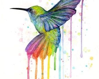 Hummingbird Art Print Rainbow Watercolor Animal Painting Rainbow Hummingbird, Hummingbird Print Watercolor Animals Whimsical Bird