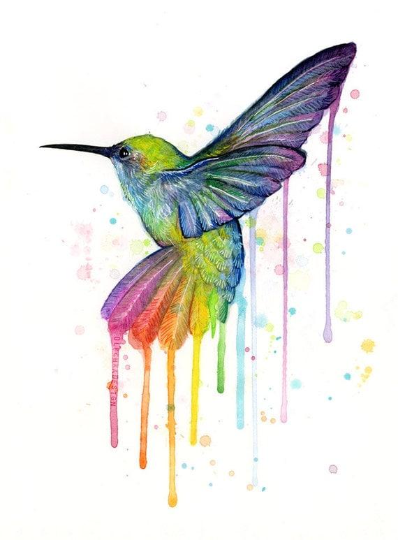 Hummingbird Art Print, Rainbow Watercolor Painting, Rainbow Hummingbird, Hummingbird Print, Watercolor Animals, Whimsical Bird,