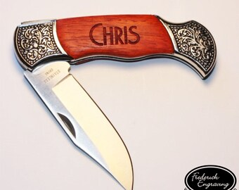 Engraved Hunting Pocket Knife with Deco Grip Rosewood Handle - Custom Personalized Folding Knife - KNV-120