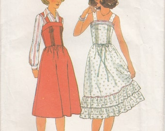 Sale! Simplicity 8015 Sundress or Jumper, Tucked Bodice, Shoulder Straps and Ruffles, Size 10 1970s