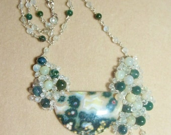 Ocean Jasper, Moonstone, Moss Agate and White Topaz Sterling Necklace, Wire Wrapped