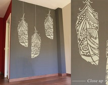 Forest Feathers - Reusable decorative Scandinavian wall stencil for DIY projects - Tribal pattern look - Easy home decor - Bohemian Wall