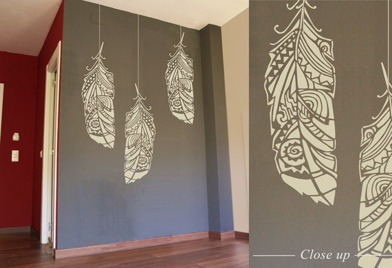 Forest Feathers wall stencil -  decorative Scandinavian wall stencil for DIY projects - Tribal pattern - Easy home decor - Bohemian Wall