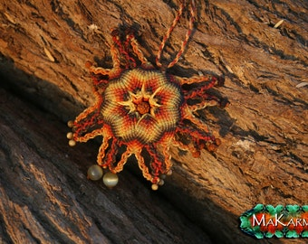 Macrame Necklace 'The Sun' Mandala Tribal Necklace Eco Friendly Natural Necklace Women Men Jewelry Gypsy Necklace  by MAKARMA