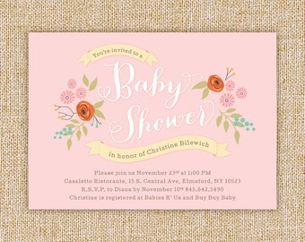 Vintage Rose Floral Baby Shower Invitation with Free Shipping or DIY Printable