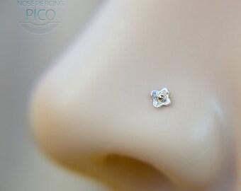Nose Stud Flower - Small Nose Bone Stud - Cute Nose Stud - Gift for Her - Flower Nose Screw - Tiny Nose Screw - 22 Gauge Nose Bone - Custom