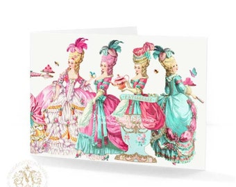 Marie Antoinette let them eat cake card in pink and blue for birthday or all occasion