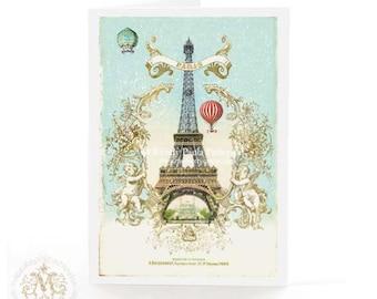 Eiffel Tower, card, Christmas card, Paris, hot air balloon, cherub, vintage style, French, holiday card, romantic, snow scene, blue, gold