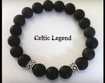 Jamie Fraser Scottish Legend Men's Onyx Bracelet, Unisex Boho Jewelry, Outlander Inspired, Celtic Knot Bracelet, Groomsmen Gift
