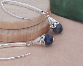 Earrings Blue Sapphire Long Silver Marquise Earrings September Birthstone Gemstone Earrings