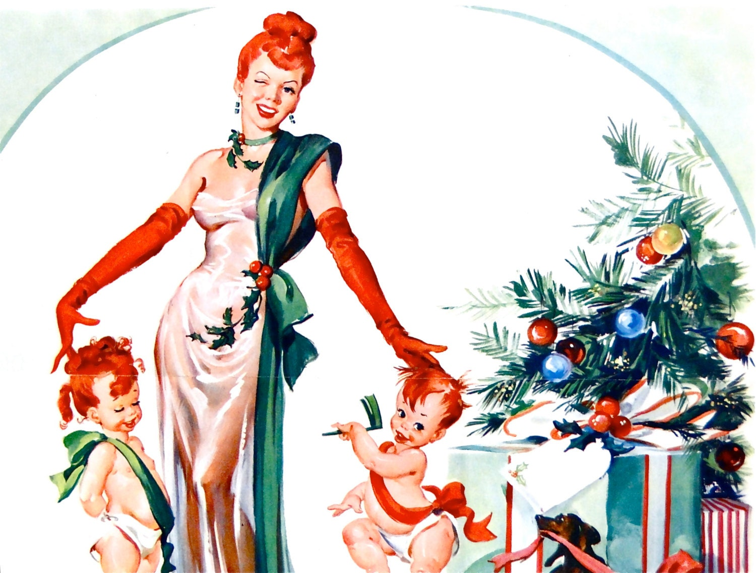 Vintage garage ad christmas card large fold out pin up for Garage ad le pin