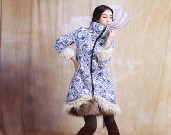 winter warm cotton-padded jacket / coat long winter linen coat--3