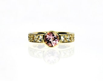 Light Pink tourmaline ring,  yellow gold, white gold, Rose gold, white sapphire, Tourmaline engagement, Pink, solitaire, Sapphire, bezel