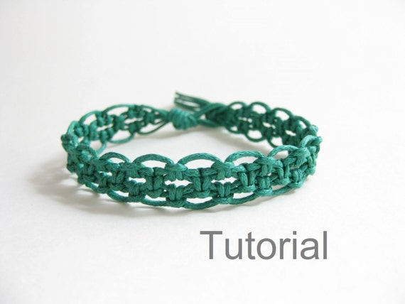 Macrame bracelet pattern pdf instructions tutorial forest green lacy ...
