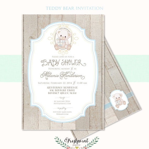 Printable Invitations Baby Shower Invitation Teddy Bear
