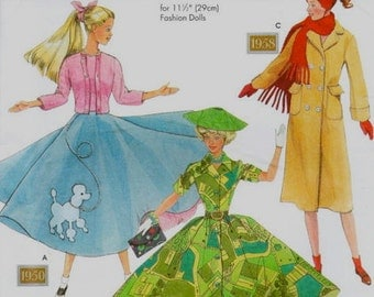 BARBIE DOLL Clothes Sewing Pattern - Fashion Dolls Fabulous Fifties Poodle Skirt & Sweater OOP 9840