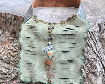 Boho Leather Necklace - Woodland  Leather Necklace - Leather Necklace Bib - OOAK