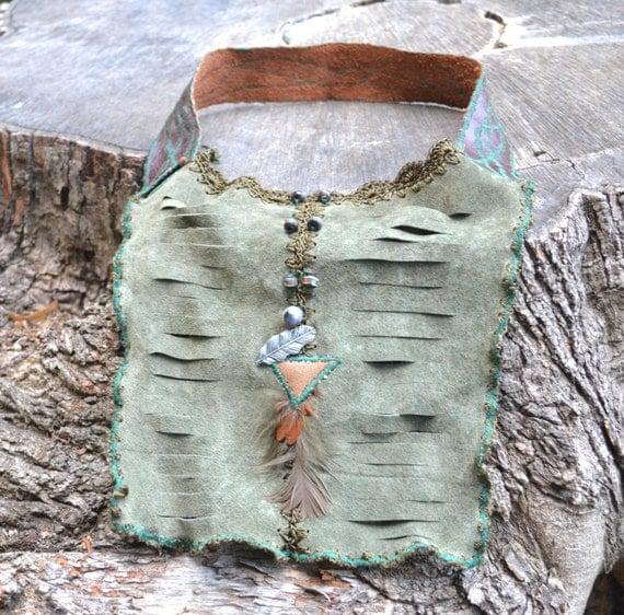 Boho Leather Necklace - Woodland  Leather Necklace - Leather Necklace Bib - OOAK