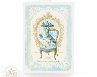 Owl on a French chair with a  tea tray, for birthday, all occasion card, blank inside