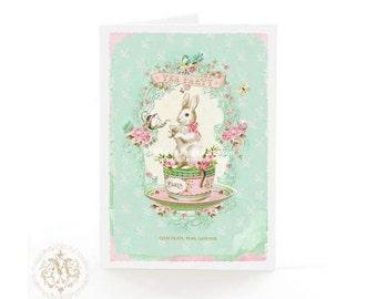 Rabbit card, Easter card, baby card, tea party, birthday card, baby shower, blank inside