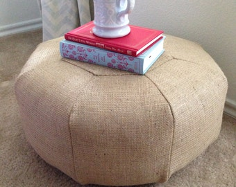 SHORT Burlap Pouf - Floor Cushion - Meditation Pillow