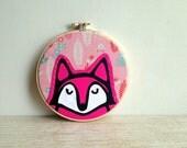 Pink Fox Art - 5 Inch Hoop - Silk Screen Printed - Embroidery Hoop art - Fox Hoop Art - Pink Fox - Home Decor -