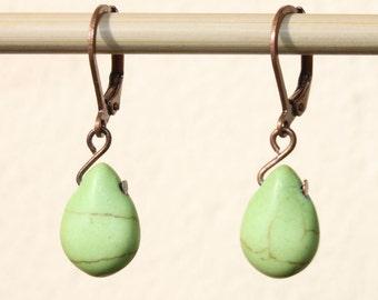 SALE ! Green Earrings Turquoise Earrings Dangle earrings Drop earrings Howlite Turquoise Small Jewelry Gift For Her Gift Ideas